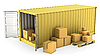 Photo 300 DPI: Yellow opened container with lot of carton boxes