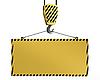 Yellow crane hook lifting blank yellow panel | Stock Illustration