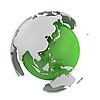 Photo 300 DPI: Abstract green globe with Asia