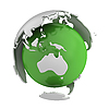 Photo 300 DPI: Abstract green globe with Australia