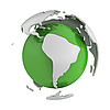 Abstract green globe with South America part | Stock Illustration