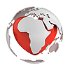 Globe with heart, Africa part | Stock Illustration