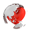 Globe with heart, Asian part | Stock Illustration