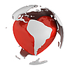 Globe with heart, South America part | Stock Illustration