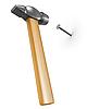 Shiny new hammer hitting nail | Stock Illustration