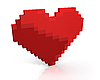 Photo 300 DPI: Red heart of cubic pixels