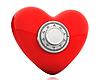红色的心与数字安全锁 | 光栅插图