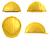 Yellow construction helmet four views isolated | Stock Illustration