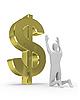 3D man worships big dollar sign   Stock Illustration