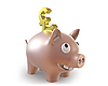 Photo 300 DPI: 3d piggy bank with pound symbol