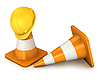 Photo 300 DPI: Two traffic cones and yellow helmet