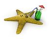 Starfish drinks juice | Stock Illustration