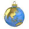 Christmas ball shaped as globe or planet, Asia part | Stock Illustration