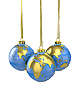 Three christmas balls shaped as globe | Stock Illustration