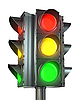 Photo 300 DPI: Four sided traffic light with red, yellow and green