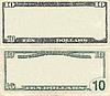 Clear 10 dollar banknote pattern | Stock Foto