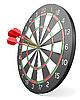 Three red darts hit center of board | Stock Illustration