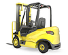 Yellow fork lift truck, rear view | Stock Illustration