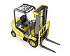Yellow fork lift truck, top view | Stock Illustration