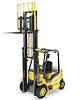 Yellow fork lift truck with raised fork | Stock Illustration