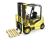 Yellow fork lift truck, with pallet | Stock Illustration