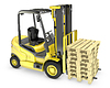 Yellow fork lift truck, with stack of pallets, isolate | Stock Illustration