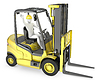 White man in fork lift truck | Stock Illustration