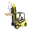 Photo 300 DPI: white man in fork lift truck, lifting other