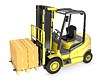 ID 3301232 | Yellow fork lift truck with strack of carton boxes | High resolution stock illustration | CLIPARTO