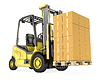 Yellow fork lift truck with big stack of carton boxes | Stock Illustration