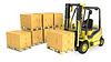 Yellow fork lift truck with strack of carton boxes | Stock Illustration