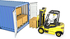 Yellow fork lift truck unloads cargo container | Stock Illustration