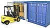 Photo 300 DPI: Yellow fork lift truck unloads cargo container