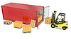 Yellow fork lift truck unloads red container | Stock Illustration
