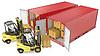 Zwei gelbe Gabelstapler entladen die Container | Stock Illustration