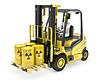 Fork lift truck with radioactive barrels | Stock Illustration