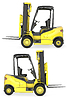 Yellow fork lift truck side view | Stock Illustration