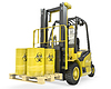 Fork lift truck with biohazard barrels | Stock Illustration