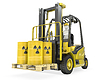 Fork lift truck with radioactive barrels | Stock Illustration