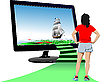Futuristic monitor with sailing ship and young woman