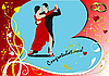 Векторный клипарт: Валентинка с парой танцующей танго