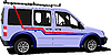 Vector clipart: Light purple delivery minibus