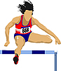Vector clipart: Woman running hurdles
