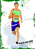 Векторный клипарт: Постер с бегуном на финише