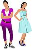 Vector clipart: Two women