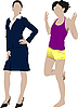 Vector clipart: Two women