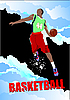 Vector clipart: poster with basketball player