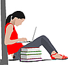 Sitting girl with laptop and book`s column