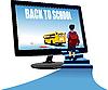 Vektor Cliparts: Schüler, Monitor und Schulbus