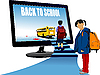 Vector clipart: School boy and school girl upstairs to school bus